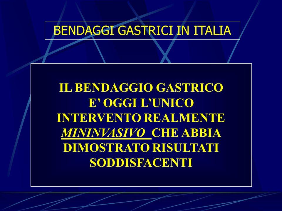 IL BENDAGGIO GASTRICO E OGGI LUNICO INTERVENTO REALMENTE MININVASIVO CHE ABBIA DIMOSTRATO RISULTATI SODDISFACENTI BENDAGGI GASTRICI IN ITALIA