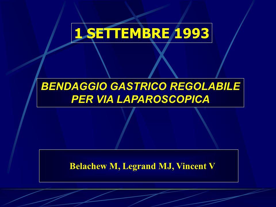 BENDAGGIO GASTRICO REGOLABILE PER VIA LAPAROSCOPICA 1 SETTEMBRE 1993 Belachew M, Legrand MJ, Vincent V