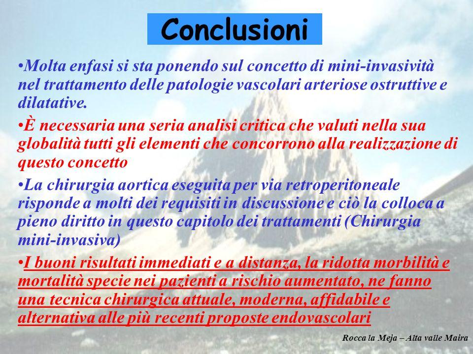 Conclusioni Molta enfasi si sta ponendo sul concetto di mini-invasività nel trattamento delle patologie vascolari arteriose ostruttive e dilatative.