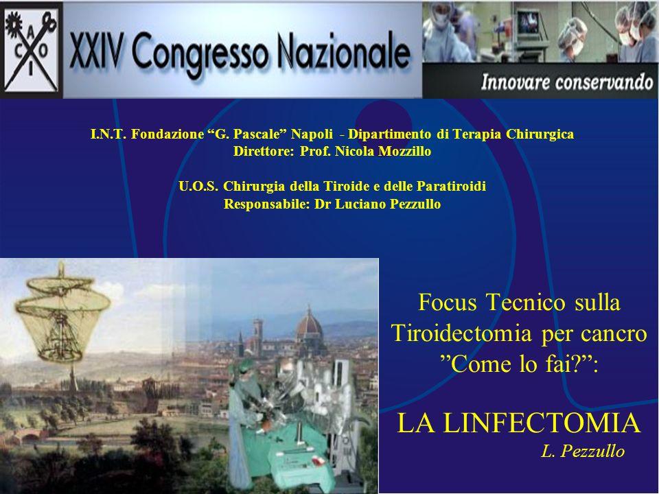Focus Tecnico sulla Tiroidectomia per cancro Come lo fai?: LA LINFECTOMIA L. Pezzullo I.N.T. Fondazione G. Pascale Napoli - Dipartimento di Terapia Ch