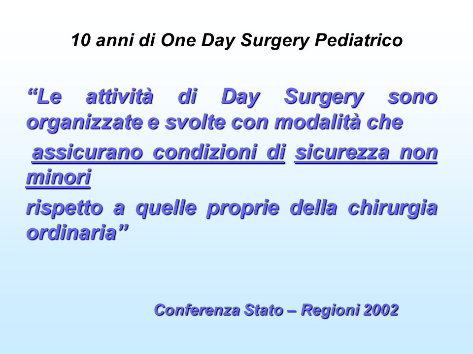 10 anni di One Day Surgery Pediatrico Le attività di Day Surgery sono organizzate e svolte con modalità che assicurano condizioni di sicurezza non minori assicurano condizioni di sicurezza non minori rispetto a quelle proprie della chirurgia ordinaria Conferenza Stato – Regioni 2002