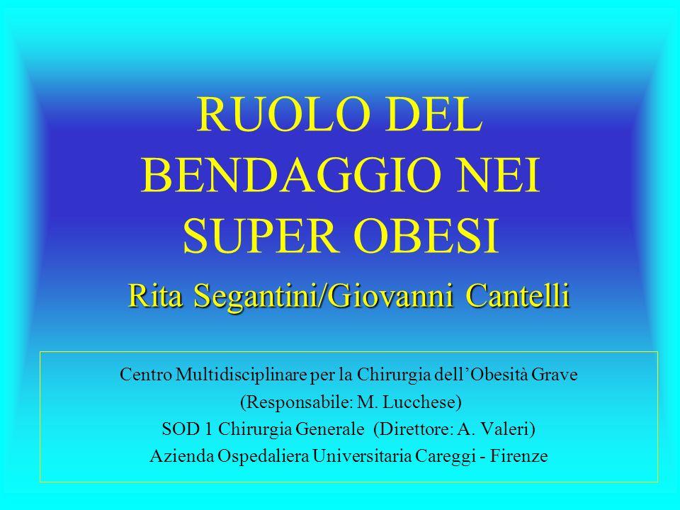 RUOLO DEL BENDAGGIO NEI SUPER OBESI Rita Segantini/Giovanni Cantelli Centro Multidisciplinare per la Chirurgia dellObesità Grave (Responsabile: M.