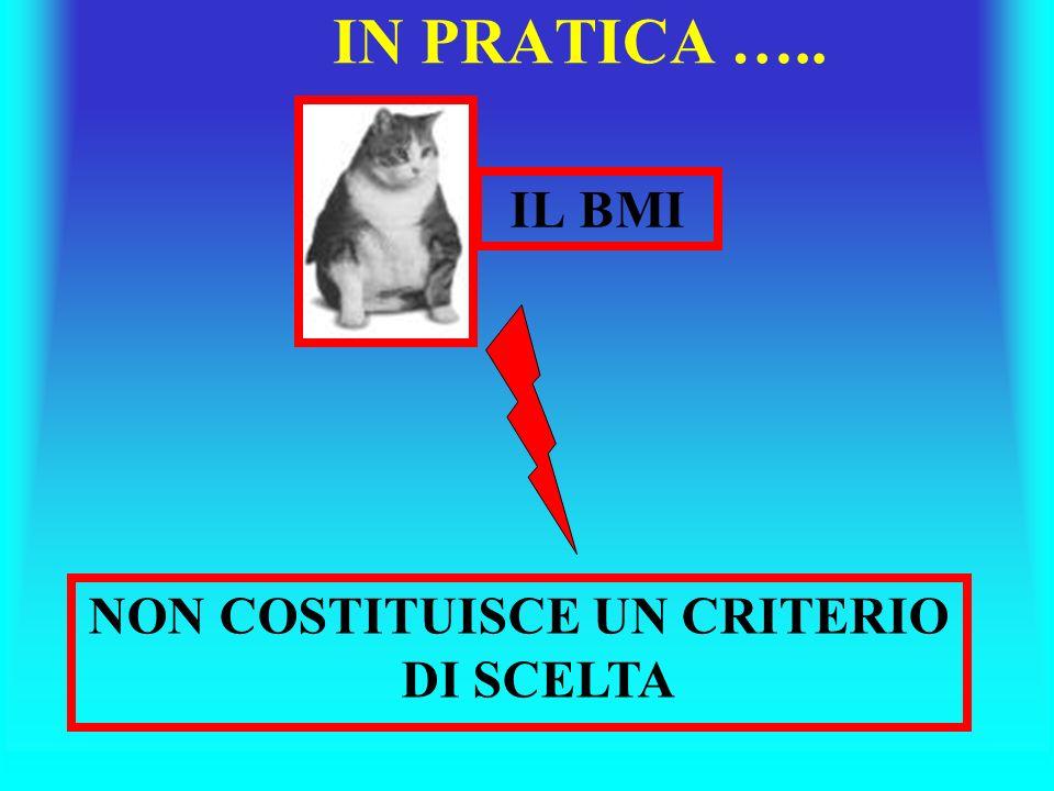 IN PRATICA ….. IL BMI NON COSTITUISCE UN CRITERIO DI SCELTA