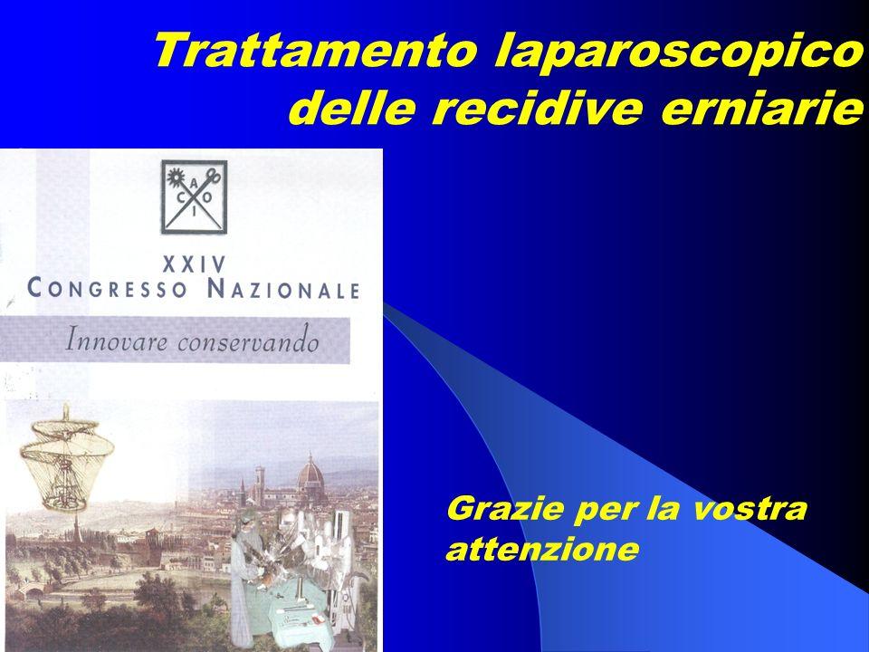 Trattamento laparoscopico delle recidive erniarie Grazie per la vostra attenzione