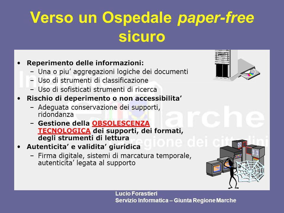 Verso un Ospedale paper-free sicuro Lucio Forastieri Servizio Informatica – Giunta Regione Marche