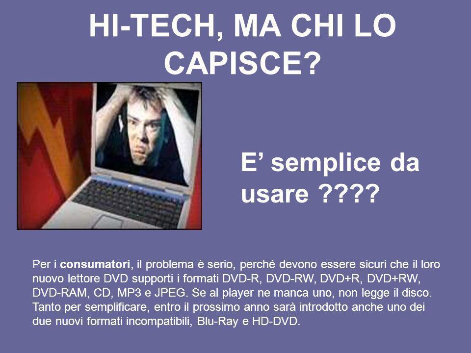 HI-TECH, MA CHI LO CAPISCE? E semplice da usare ???? Per i consumatori, il problema è serio, perché devono essere sicuri che il loro nuovo lettore DVD