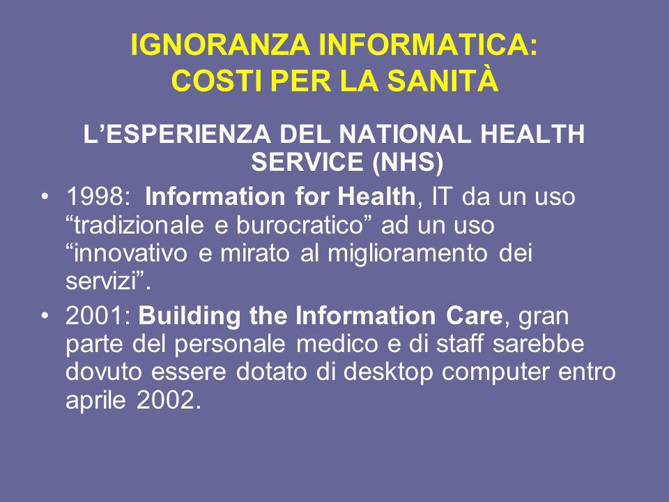 IGNORANZA INFORMATICA: COSTI PER LA SANITÀ LESPERIENZA DEL NATIONAL HEALTH SERVICE (NHS) 1998: Information for Health, IT da un uso tradizionale e bur