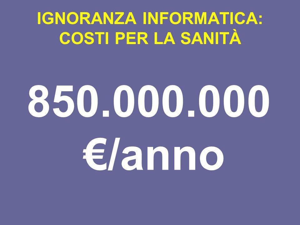 IGNORANZA INFORMATICA: COSTI PER LA SANITÀ 850.000.000 /anno