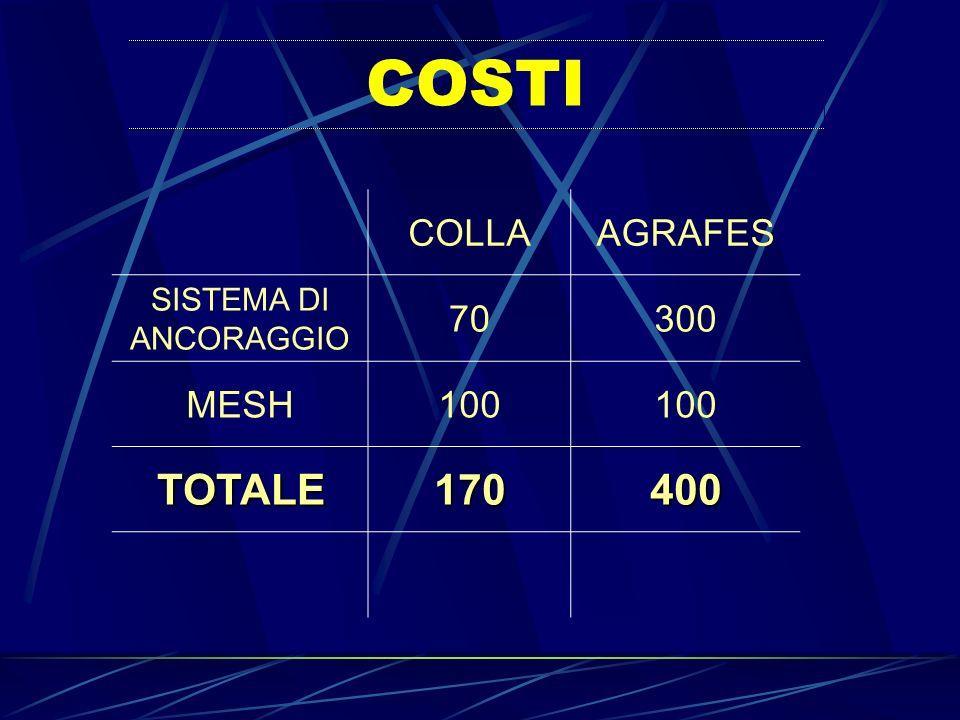 COSTI COLLAAGRAFES SISTEMA DI ANCORAGGIO 70300 MESH100 TOTALE170400