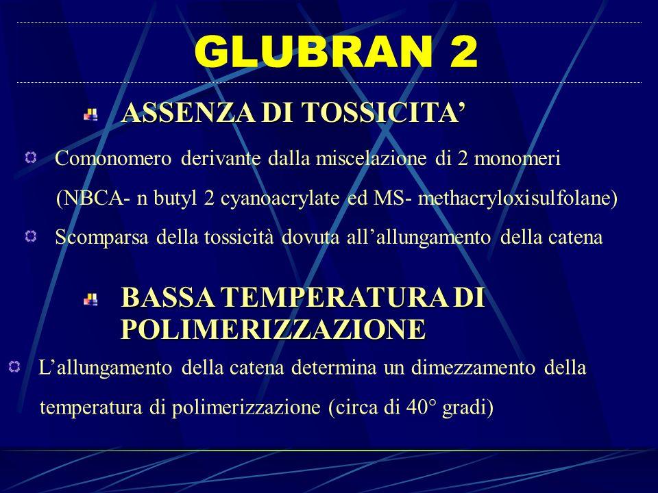 GLUBRAN 2 ASSENZA DI TOSSICITA Comonomero derivante dalla miscelazione di 2 monomeri (NBCA- n butyl 2 cyanoacrylate ed MS- methacryloxisulfolane) Scom