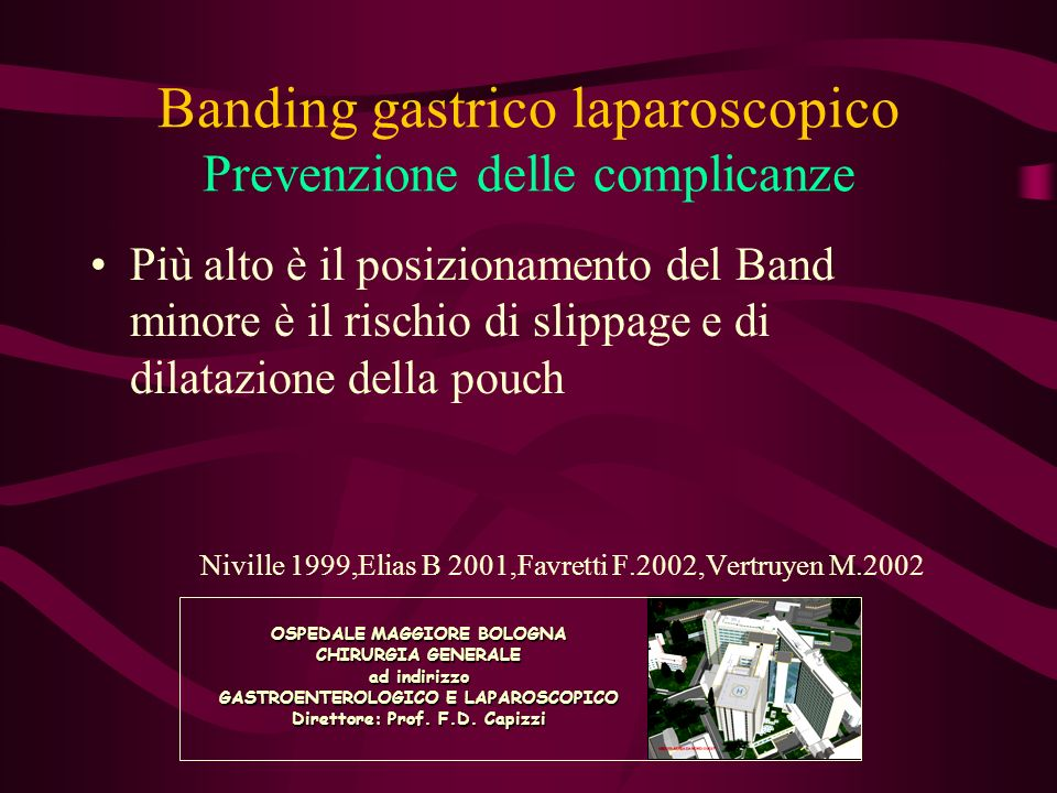 Banding gastrico laparoscopico Banding esofago-gastrico Razionale Accentuazione del senso di precoce sazietà Riduzione delle complicanze maggiori OSPEDALE MAGGIORE BOLOGNA CHIRURGIA GENERALE ad indirizzo GASTROENTEROLOGICO E LAPAROSCOPICO Direttore: Prof.