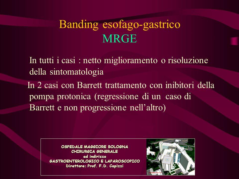 Banding esofago-gastrico MRGE In tutti i casi : netto miglioramento o risoluzione della sintomatologia In 2 casi con Barrett trattamento con inibitori