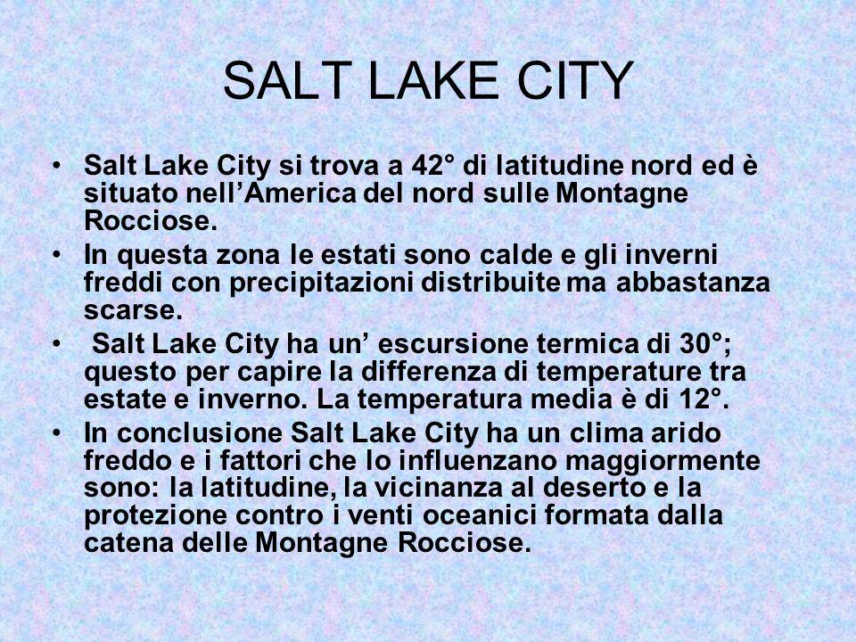 SALT LAKE CITY Salt Lake City si trova a 42° di latitudine nord ed è situato nellAmerica del nord sulle Montagne Rocciose. In questa zona le estati so