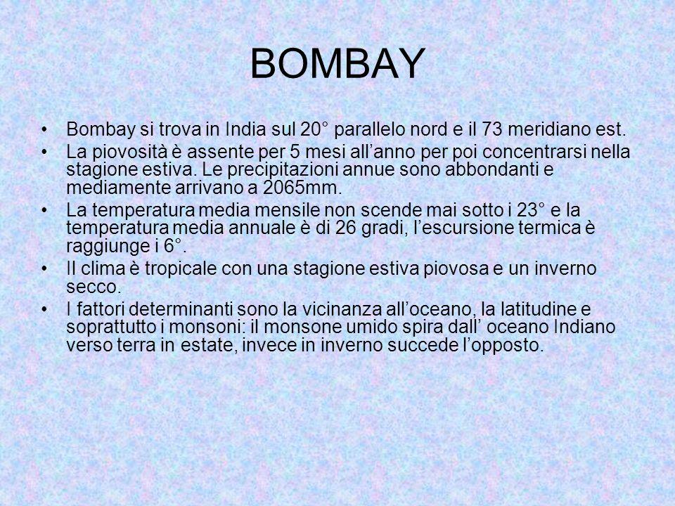 BOMBAY Bombay si trova in India sul 20° parallelo nord e il 73 meridiano est. La piovosità è assente per 5 mesi allanno per poi concentrarsi nella sta