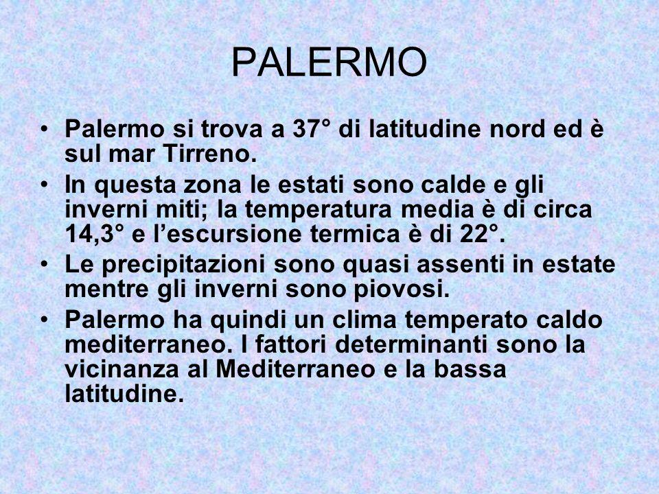 PALERMO Palermo si trova a 37° di latitudine nord ed è sul mar Tirreno. In questa zona le estati sono calde e gli inverni miti; la temperatura media è