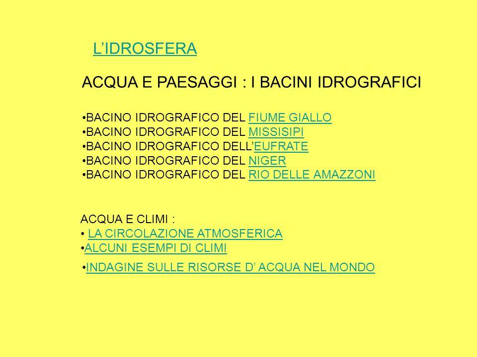 LIDROSFERA ACQUA E PAESAGGI : I BACINI IDROGRAFICI BACINO IDROGRAFICO DEL FIUME GIALLOFIUME GIALLO BACINO IDROGRAFICO DEL MISSISIPIMISSISIPI BACINO ID