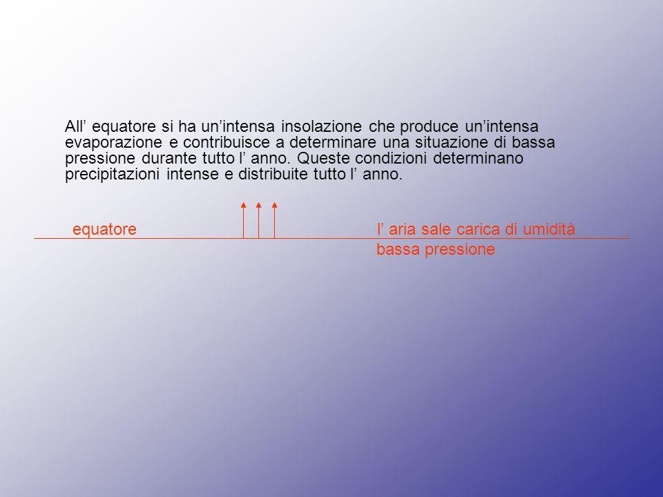 All equatore si ha unintensa insolazione che produce unintensa evaporazione e contribuisce a determinare una situazione di bassa pressione durante tutto l anno.