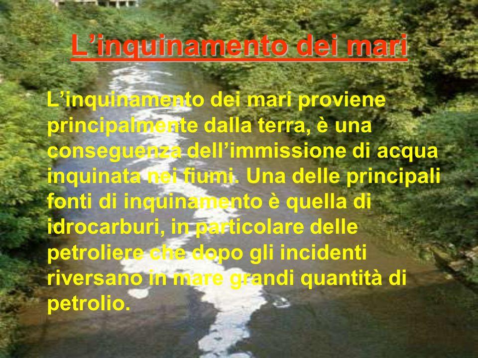 Linquinamento dei mari Linquinamento dei mari proviene principalmente dalla terra, è una conseguenza dellimmissione di acqua inquinata nei fiumi.