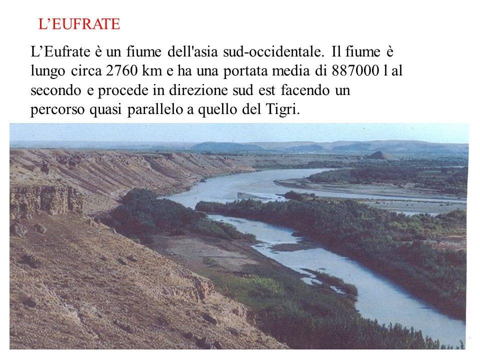 LEUFRATE LEufrate è un fiume dell'asia sud-occidentale. Il fiume è lungo circa 2760 km e ha una portata media di 887000 l al secondo e procede in dire