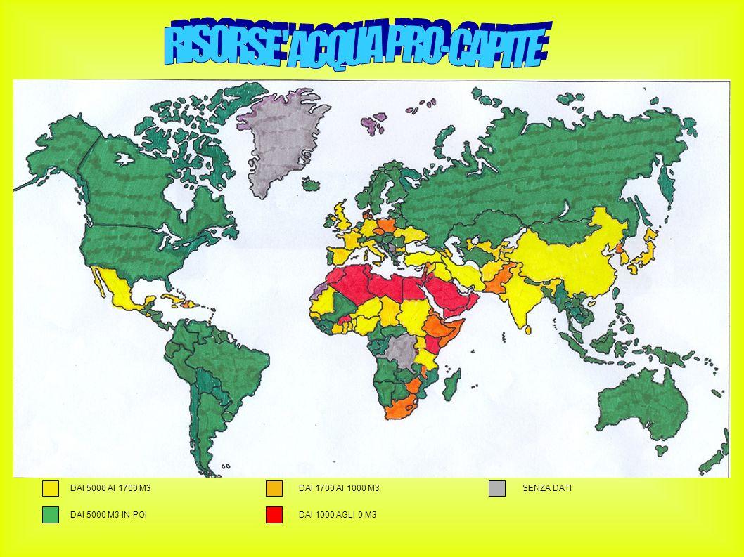 I dati sulle risorse d acqua pro-capite sono stati ricavati dalle tabelle fornite dalla FAO (Food and Agricolture Organization of United Nations.)Le effettive risorse d acqua rinnovabili sono date dall ammontare massimo teorico dell acqua realmente disponibile per ogni paese, sebbene in realtà una parte di quest acqua può essere inaccessibile agli uomini.