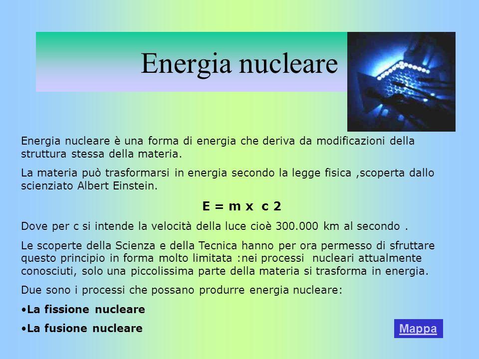 Energia nucleare Energia nucleare è una forma di energia che deriva da modificazioni della struttura stessa della materia. La materia può trasformarsi