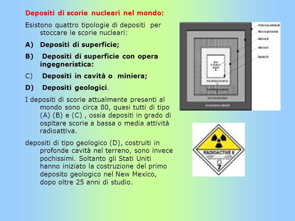 Depositi di scorie nucleari nel mondo: Esistono quattro tipologie di depositi per stoccare le scorie nucleari: A)Depositi di superficie; B) Depositi d