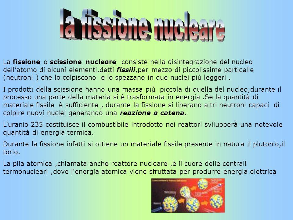 La fissione o scissione nucleare consiste nella disintegrazione del nucleo dellatomo di alcuni elementi,detti fissili,per mezzo di piccolissime partic