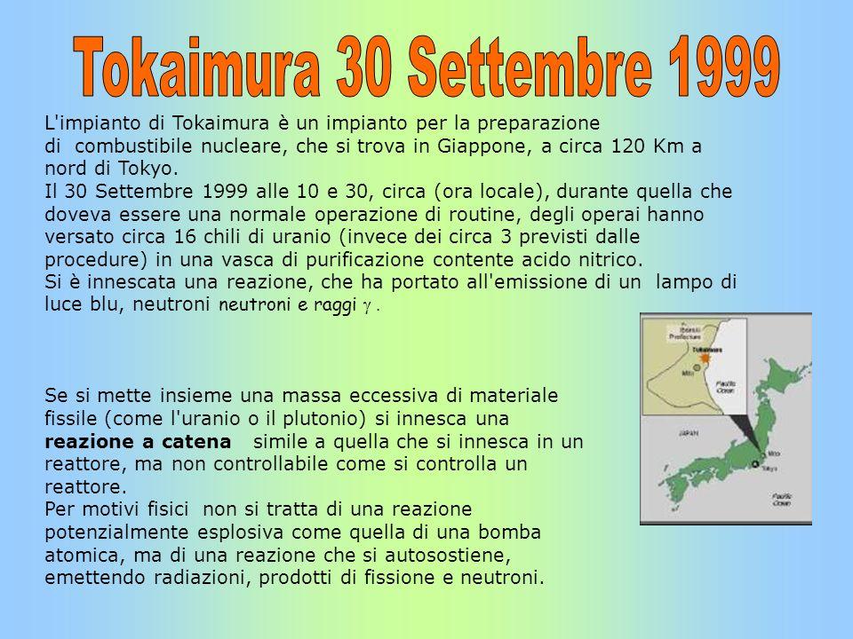 L'impianto di Tokaimura è un impianto per la preparazione di combustibile nucleare, che si trova in Giappone, a circa 120 Km a nord di Tokyo. Il 30 Se