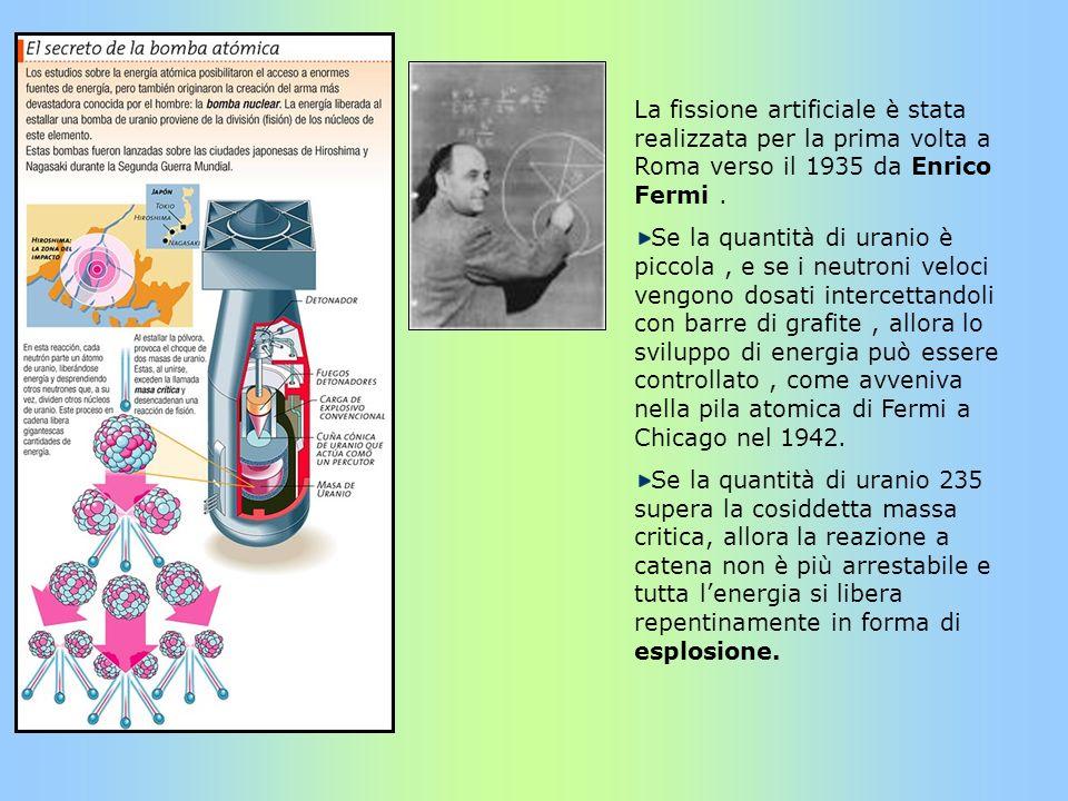 La fissione artificiale è stata realizzata per la prima volta a Roma verso il 1935 da Enrico Fermi. Se la quantità di uranio è piccola, e se i neutron