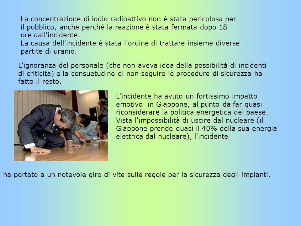 La concentrazione di iodio radioattivo non è stata pericolosa per il pubblico, anche perché la reazione è stata fermata dopo 18 ore dall'incidente. La