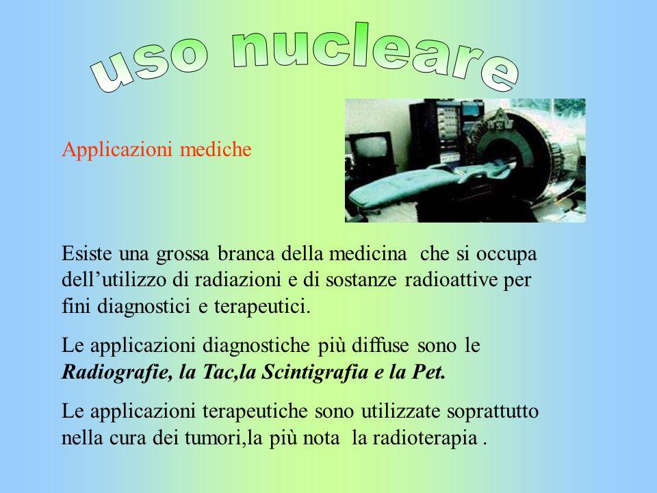 Applicazioni mediche Esiste una grossa branca della medicina che si occupa dellutilizzo di radiazioni e di sostanze radioattive per fini diagnostici e