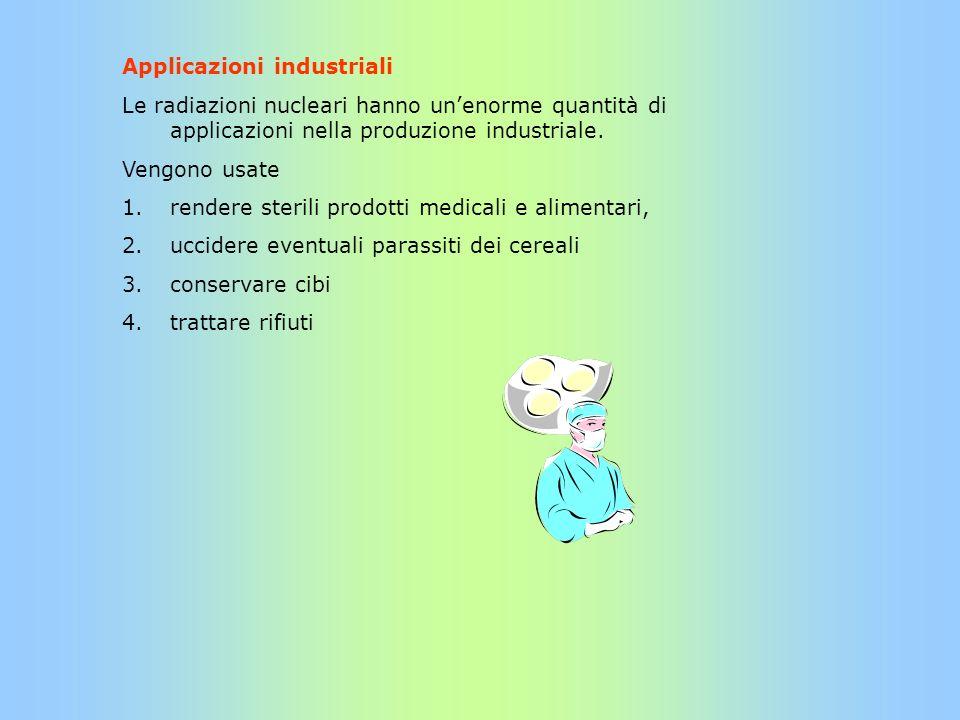 Applicazioni industriali Le radiazioni nucleari hanno unenorme quantità di applicazioni nella produzione industriale. Vengono usate 1.rendere sterili