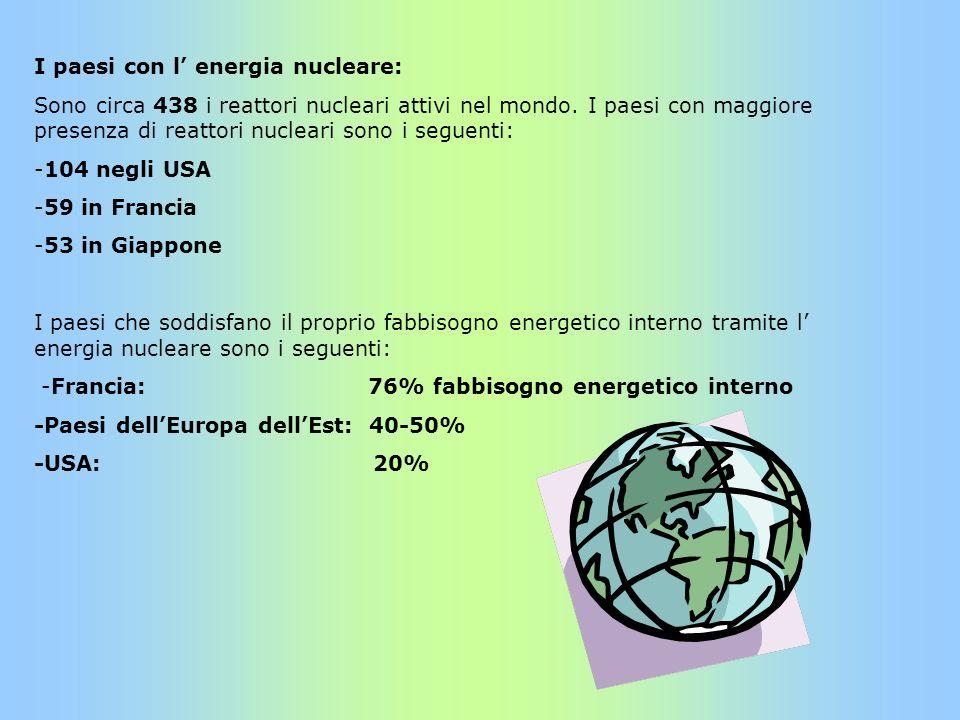 I paesi con l energia nucleare: Sono circa 438 i reattori nucleari attivi nel mondo. I paesi con maggiore presenza di reattori nucleari sono i seguent