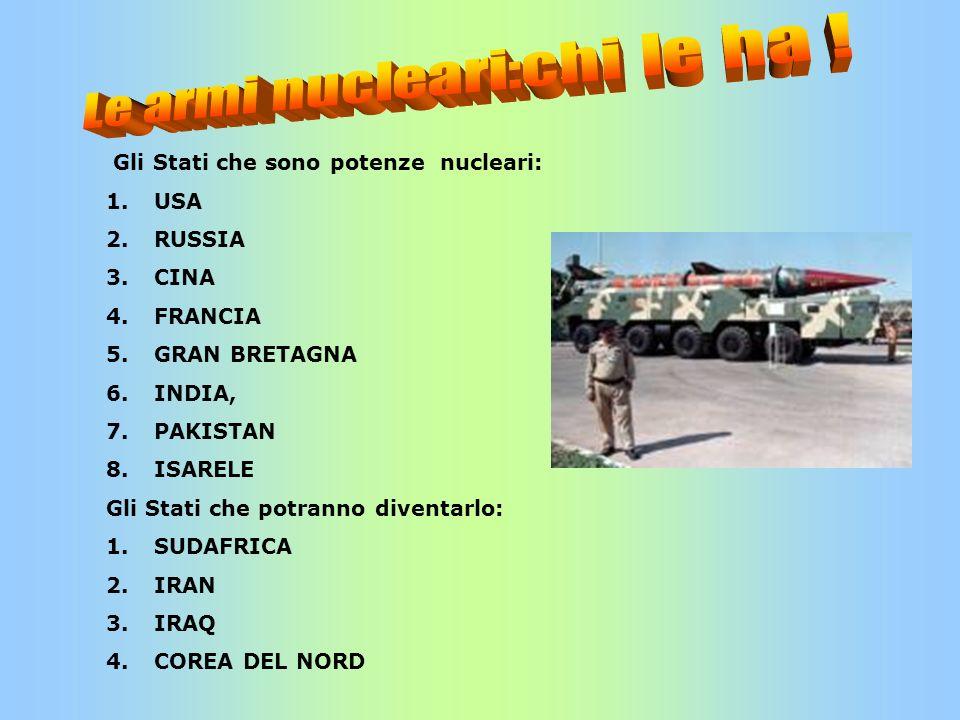 Gli Stati che sono potenze nucleari: 1.USA 2.RUSSIA 3.CINA 4.FRANCIA 5.GRAN BRETAGNA 6.INDIA, 7.PAKISTAN 8.ISARELE Gli Stati che potranno diventarlo: