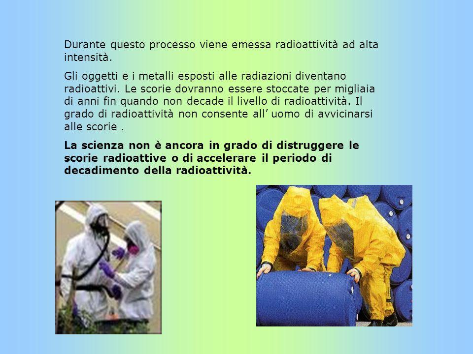 Durante questo processo viene emessa radioattività ad alta intensità. Gli oggetti e i metalli esposti alle radiazioni diventano radioattivi. Le scorie