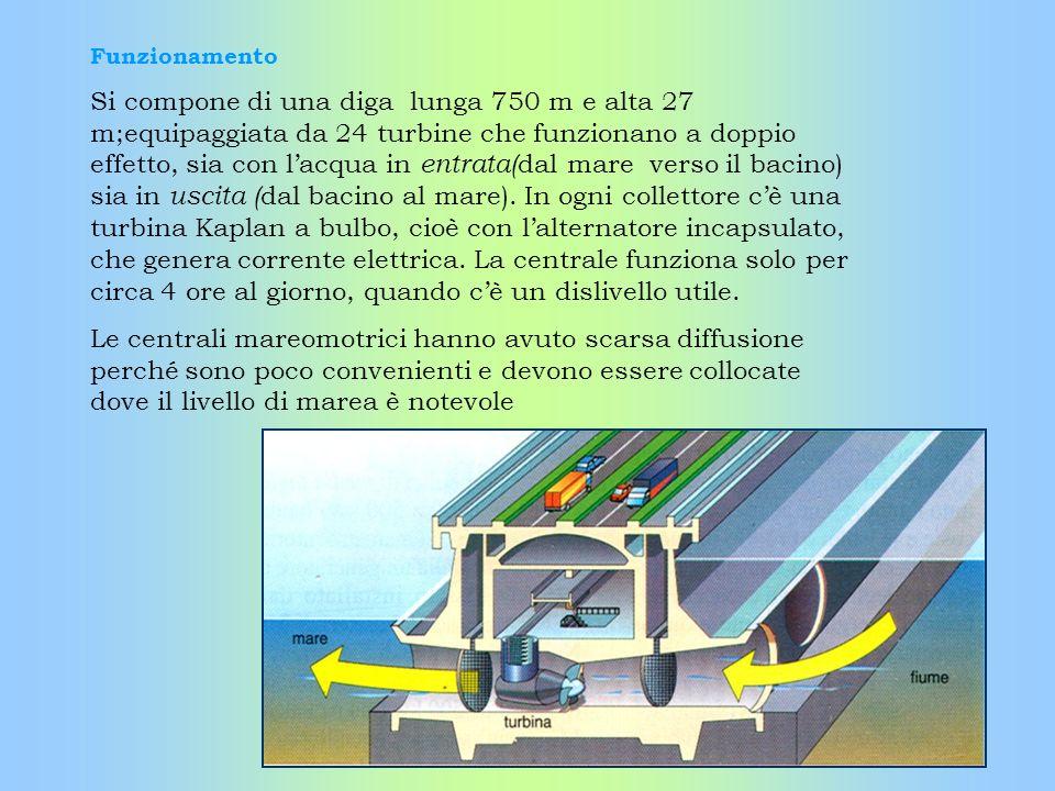 Funzionamento Si compone di una diga lunga 750 m e alta 27 m;equipaggiata da 24 turbine che funzionano a doppio effetto, sia con lacqua in entrata( da