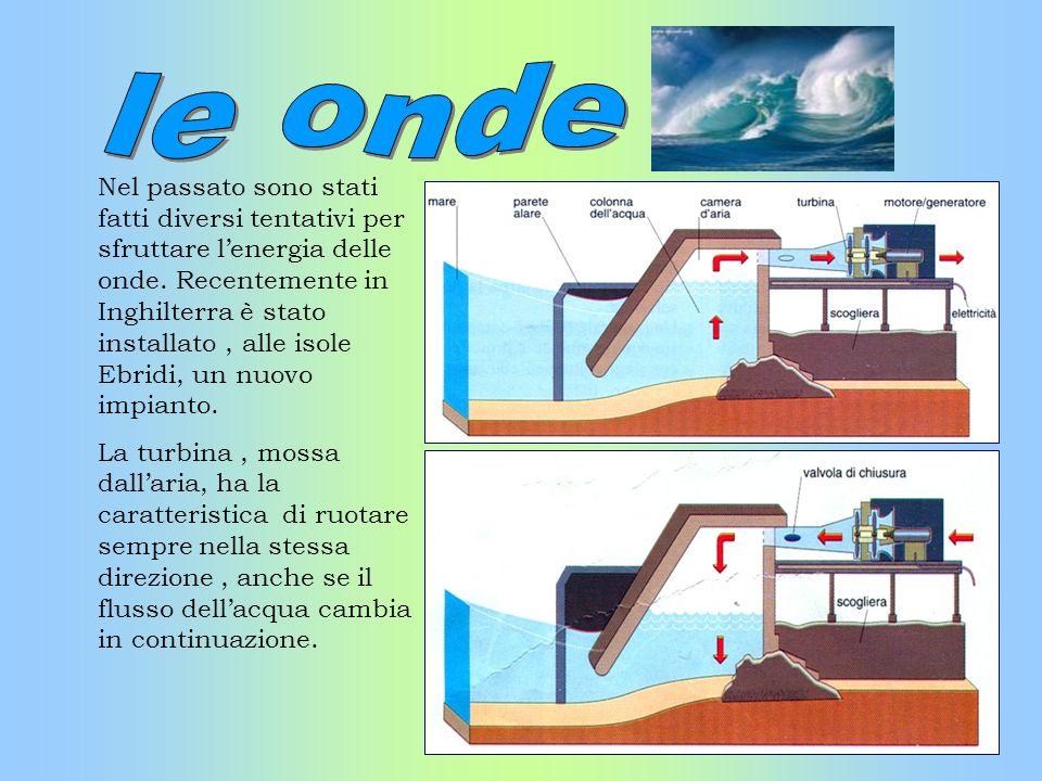 Nel passato sono stati fatti diversi tentativi per sfruttare lenergia delle onde. Recentemente in Inghilterra è stato installato, alle isole Ebridi, u