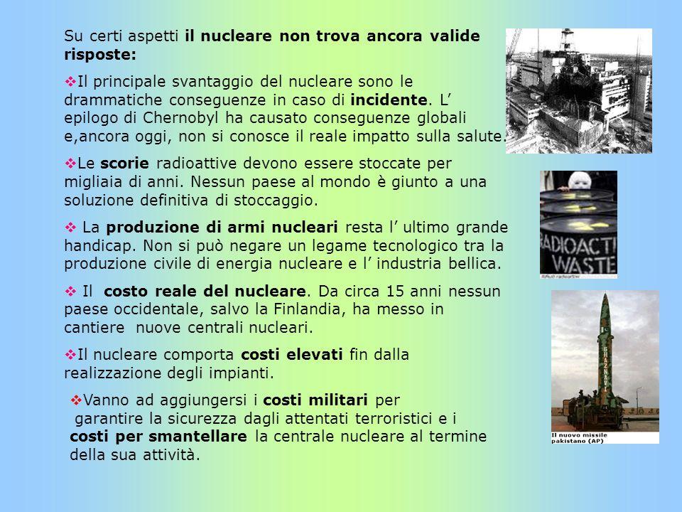 Su certi aspetti il nucleare non trova ancora valide risposte: Il principale svantaggio del nucleare sono le drammatiche conseguenze in caso di incide