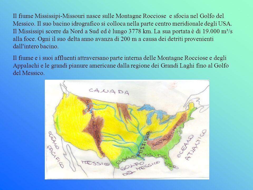 Il fiume Mississipi-Missouri nasce sulle Montagne Rocciose e sfocia nel Golfo del Messico. Il suo bacino idrografico si colloca nella parte centro mer
