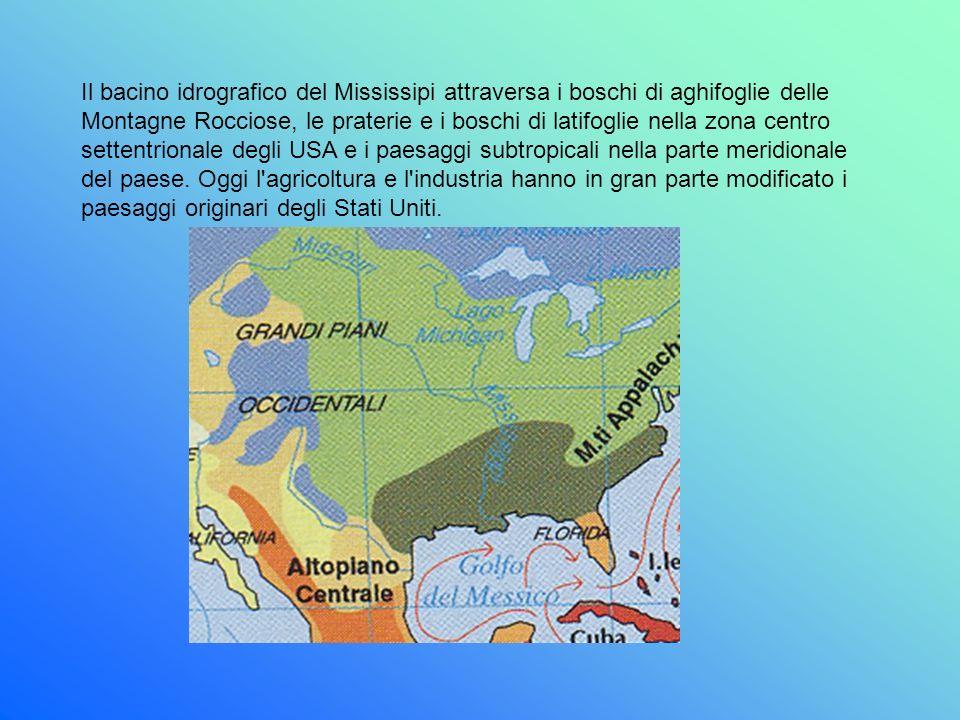 Il bacino idrografico del Mississipi attraversa i boschi di aghifoglie delle Montagne Rocciose, le praterie e i boschi di latifoglie nella zona centro