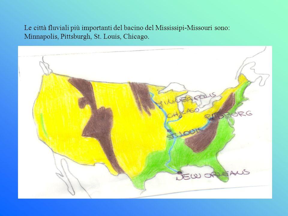 Le città fluviali più importanti del bacino del Mississipi-Missouri sono: Minnapolis, Pittsburgh, St. Louis, Chicago.