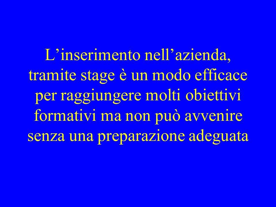 Linserimento nellazienda, tramite stage è un modo efficace per raggiungere molti obiettivi formativi ma non può avvenire senza una preparazione adeguata