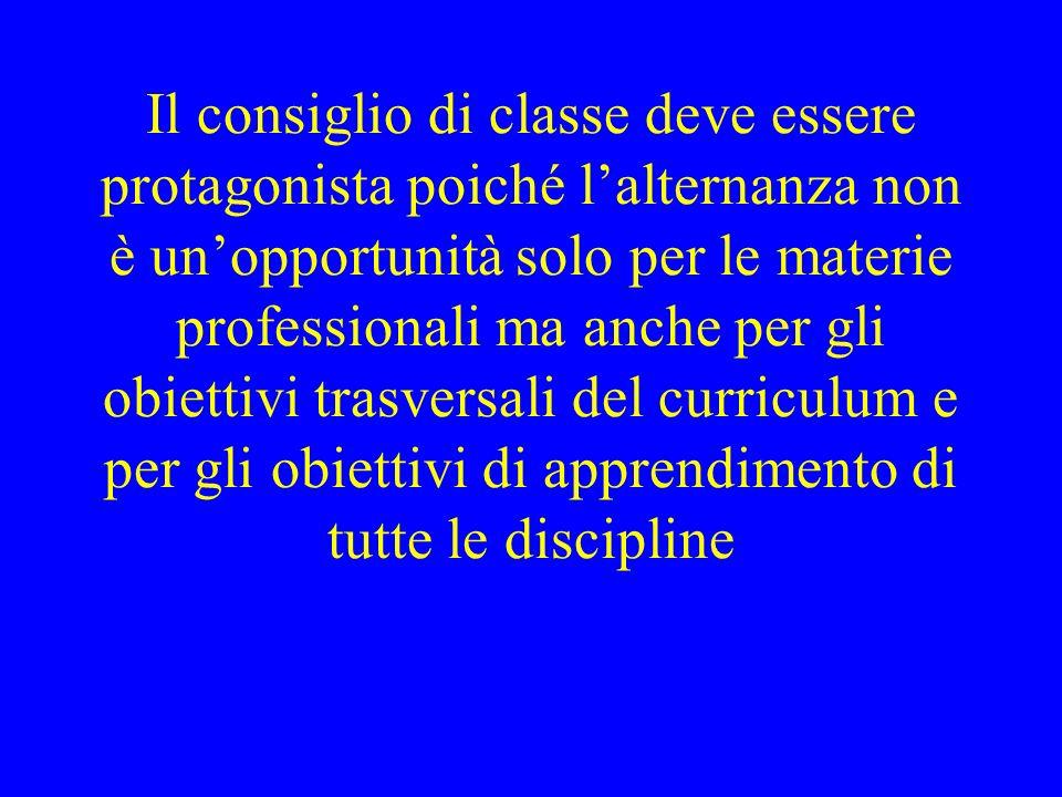 Il consiglio di classe deve essere protagonista poiché lalternanza non è unopportunità solo per le materie professionali ma anche per gli obiettivi trasversali del curriculum e per gli obiettivi di apprendimento di tutte le discipline