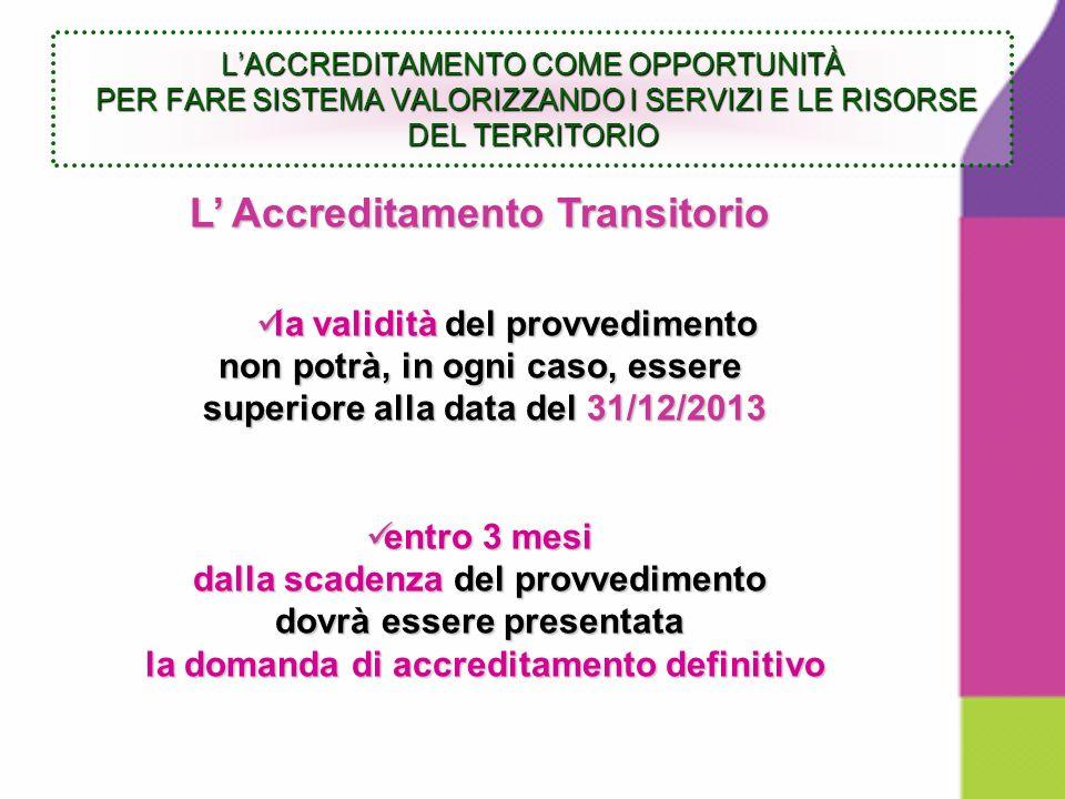 L Accreditamento Transitorio la validità del provvedimento la validità del provvedimento non potrà, in ogni caso, essere superiore alla data del 31/12/2013 superiore alla data del 31/12/2013 entro 3 mesi entro 3 mesi dalla scadenza del provvedimento dovrà essere presentata la domanda di accreditamento definitivo la domanda di accreditamento definitivo LACCREDITAMENTO COME OPPORTUNITÀ PER FARE SISTEMA VALORIZZANDO I SERVIZI E LE RISORSE DEL TERRITORIO