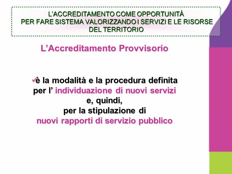 LAccreditamento Provvisorio è la modalità e la procedura definita è la modalità e la procedura definita per l individuazione di nuovi servizi e, quindi, per la stipulazione di nuovi rapporti di servizio pubblico LACCREDITAMENTO COME OPPORTUNITÀ PER FARE SISTEMA VALORIZZANDO I SERVIZI E LE RISORSE DEL TERRITORIO