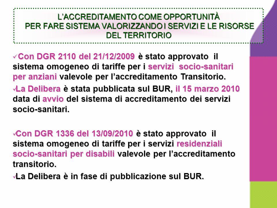 Con DGR 2110 del 21/12/2009 è stato approvato il sistema omogeneo di tariffe per i servizi socio-sanitari per anziani valevole per laccreditamento Transitorio.
