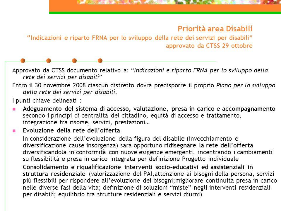 Priorità area Disabili Indicazioni e riparto FRNA per lo sviluppo della rete dei servizi per disabili approvato da CTSS 29 ottobre Approvato da CTSS d