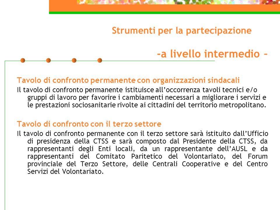 Strumenti per la partecipazione -a livello intermedio – Tavolo di confronto permanente con organizzazioni sindacali Il tavolo di confronto permanente