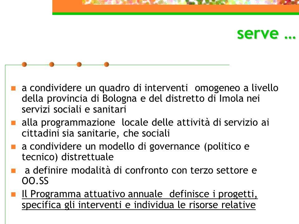 a condividere un quadro di interventi omogeneo a livello della provincia di Bologna e del distretto di Imola nei servizi sociali e sanitari alla progr