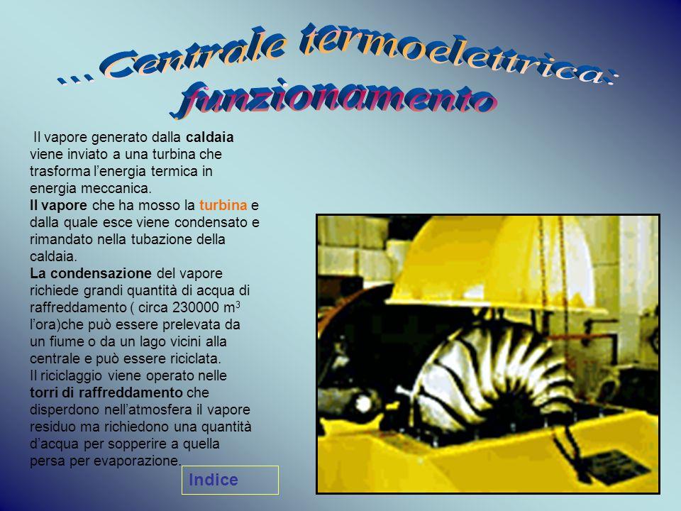 Il vapore generato dalla caldaia viene inviato a una turbina che trasforma lenergia termica in energia meccanica. Il vapore che ha mosso la turbina e